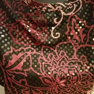 Rampage Tops - Burgundy Sequin Floral Sleeveless Blouse Top shirt